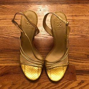 Metallic Gold Multiple Strap High Heel Sandal